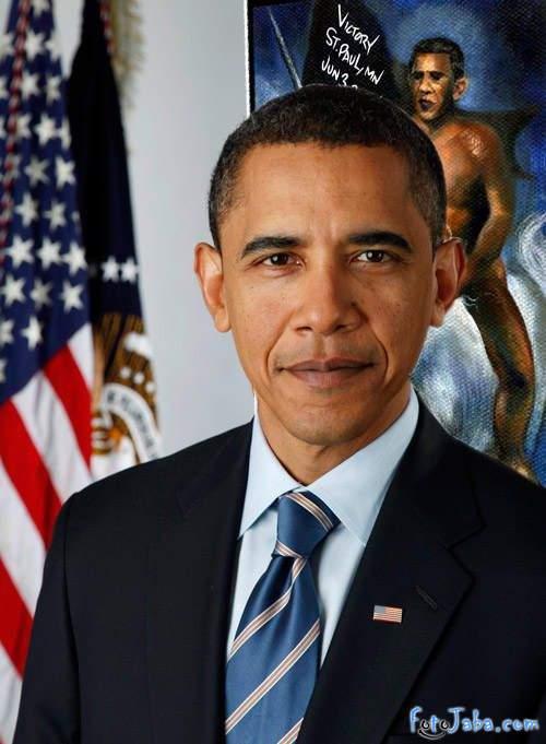 ФотоЖаба на официальный Портрет Барака Обамы - фото 10